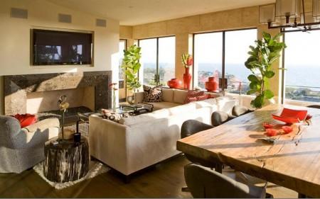 Poze Living - Masa din lemn masiv reconditionata intr-un decor modern