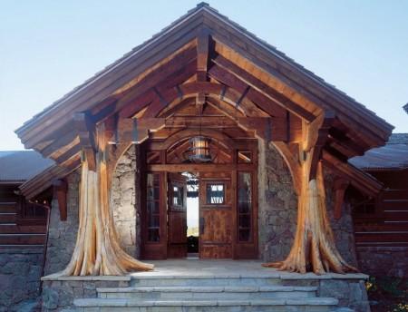 Poze Case lemn - Exterior casa rustica din lemn si piatra