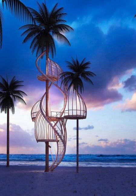 Poze Foisor si pavilion - Foisor etajat construit in copaci pe plaja