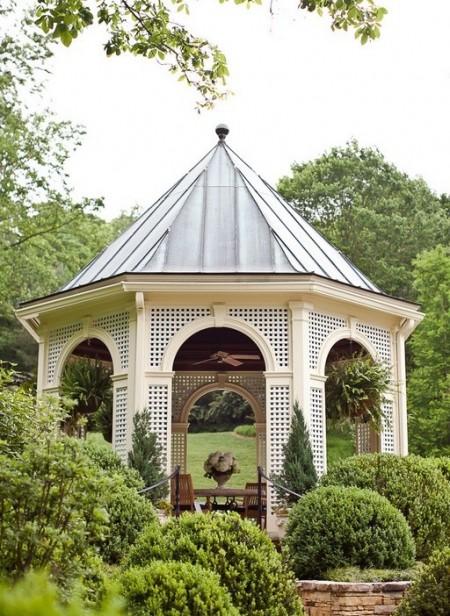 Poze Foisor si pavilion - Foisor de gradina alb din lemn