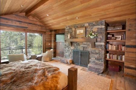 Poze Case lemn - Dormitorul unei case de vacanta din lemn