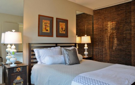 Poze Dormitor - Perdea separatoare din nuiele impletite