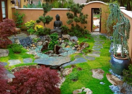 Poze Gradina de flori - Decor asiatic in gradina