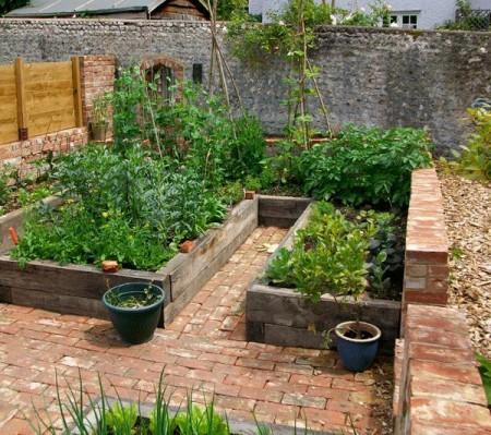 Poze Gradina legume - Alei din caramida intr-o gradina de legume