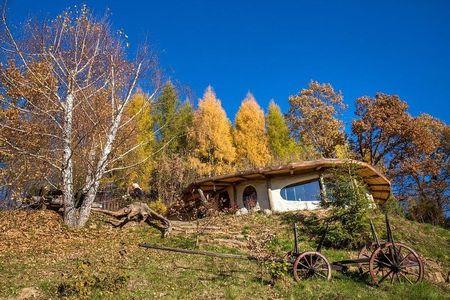 Poze Gradina de flori - Gradina rustica a unei case ecologice cu acoperis verde