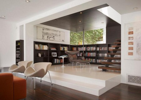 Poze Birou si biblioteca - Finisaje inversate intre biblioteca si living