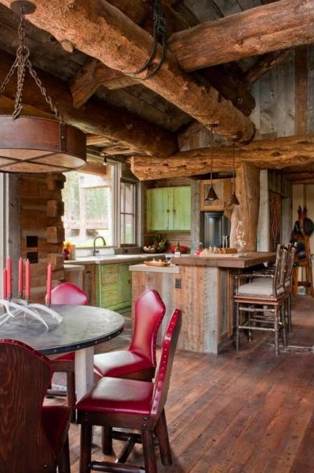 Poze Sufragerie - Bucataria si locul de luat masa intr-o cabana rustica din lemn