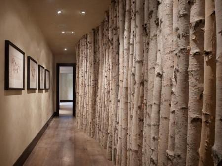 Poze Intrare si hol - Hol cu un perete construit din trunchiuri de copaci