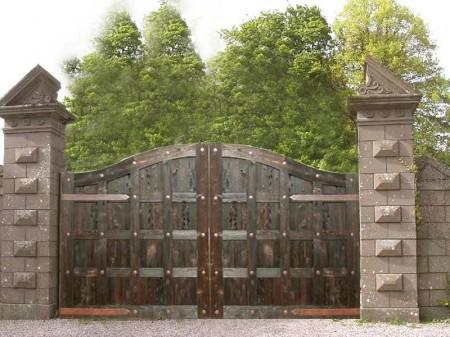 Poze Garduri si porti - Poarta acces auto din lemn masiv si fier forjat
