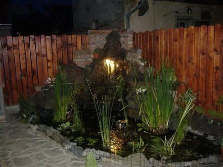 Poze Cascada si iaz - Iaz de gradina cu plante acvatice si o cascada din piatra