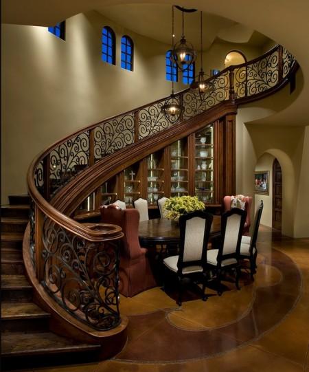 Poze Scari - Scara interioara spectaculoasa din lemn si fier forjat