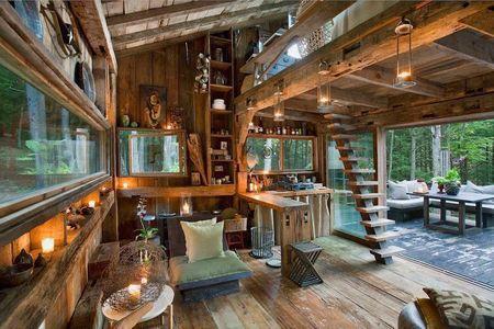Poze Case lemn - Interior spactaculos intr-o casa din lemn