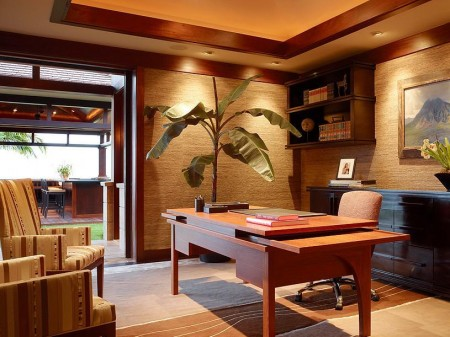 Poze Birou si biblioteca - Birou eclectic cu deschidere spre terasa
