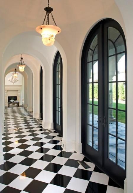 Poze Intrare si hol - Hol decorat in alb si negru