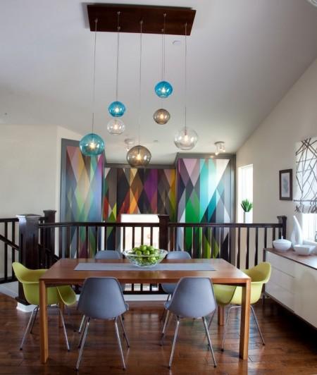 Poze Sufragerie - Tapet multicolor cu motive geometrice