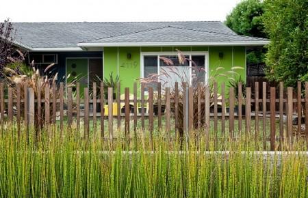 Poze Fatade - Indrazniti sa folositi culorile: casa familiala pe un nivel cu fatada vopsita in verde!