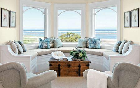 Poze Living - Banca semicirculara confectionata la comanda dupa forma ferestrelor
