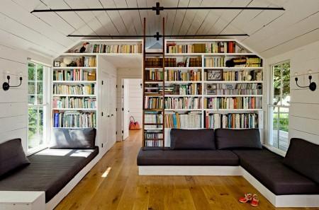 Poze Living - Living confortabil cu o generoasa biblioteca inzidita