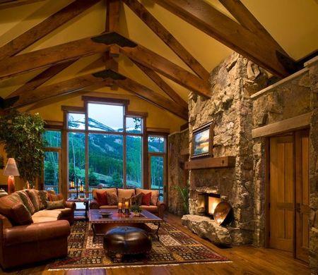 Poze Living - Livingul rustic al unei cabane montane