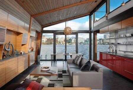 Poze Living - Priveliste spectaculoasa din livingul unei case plutitoare