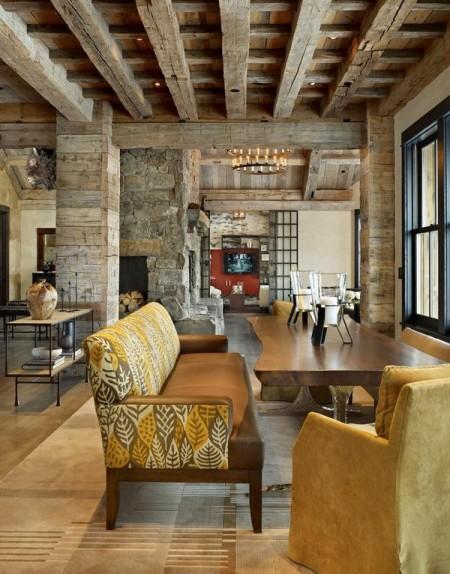 Poze Sufragerie - Decor cu piatra si lemn masiv