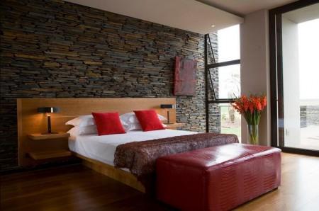 Poze Dormitor - Piatra naturala in dormitor modern