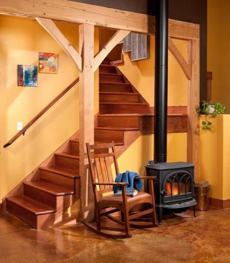 Poze Scari - Scara interioara placata cu lemn masiv