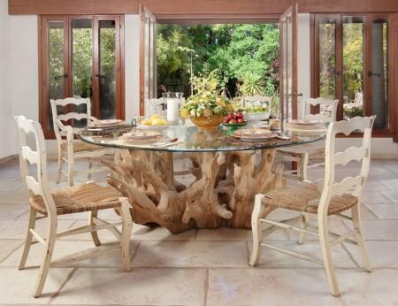 Poze Mobila si mobilier - Masuta sufragerie rotunda rustica cu blat din sticla