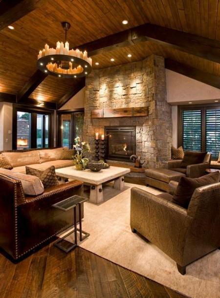 Poze Living - Piatra naturala si lemn masiv reconditionat in living