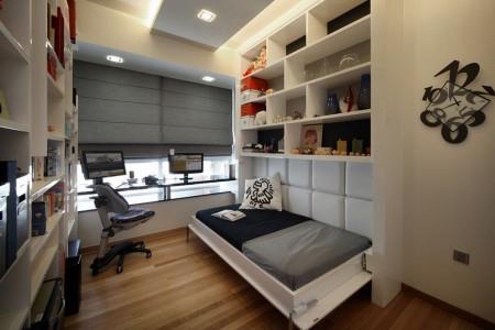 Poze Birou si biblioteca - Un pat rabatabil transforma rapid biroul in dormitor