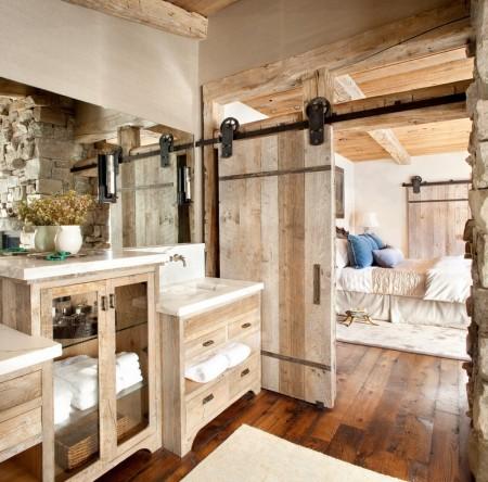Poze Dormitor - Baie si dormitor matrimonial rustice