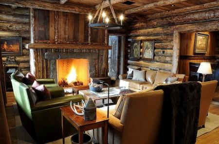 Poze Case lemn - Living cabana rustica din lemn