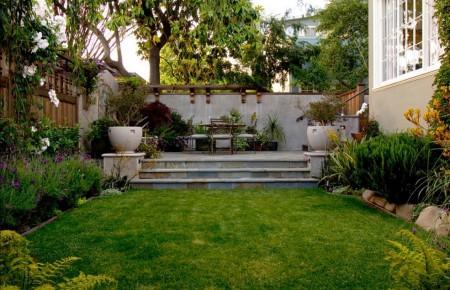 Poze Gradina de flori - O mica gradina cu gazon si plante decorative