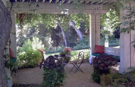 Poze Pergola - Pergola din lemn masiv decorata cu plante cataratoare si ghivece cu flori