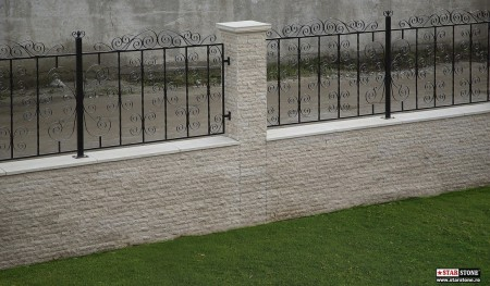 Poze Garduri si porti - Gard din fier forjat si piatra decorativa travertin