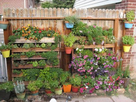 Poze Gradina de flori - Gradina verticala din paleti de lemn reciclati