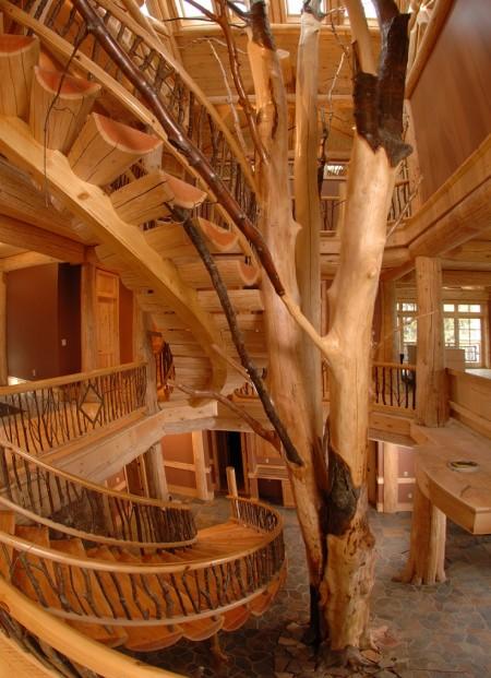 Poze Case lemn - Scara interioara din lemn