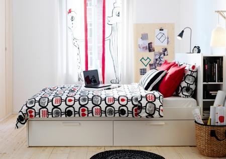 Poze Dormitor - Pat din dormitor cu spatiu de depozitare