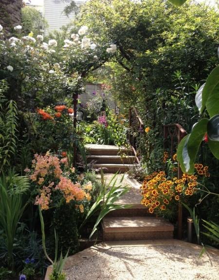 Poze Gradina de flori - Bogatie de texturi si culori in gradina rustica