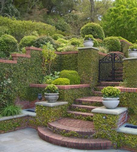 Poze Gradina de flori - O combinatie clasica in gradina: ziduri de caramida si iedera