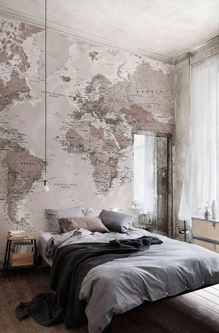 Poze Dormitor - Decoreaza-ti peretele dormitorului cu un tapet cu harta lumii!