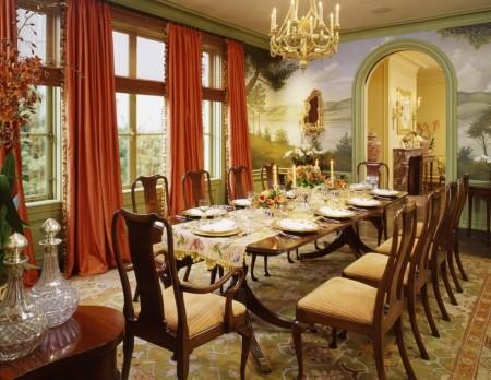 Poze Sufragerie - Tapet cu tema din natura in sufragria clasica