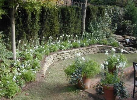 Poze Gradina de flori - Parapetul din piatra delimiteaza stratul bicolor cu flori
