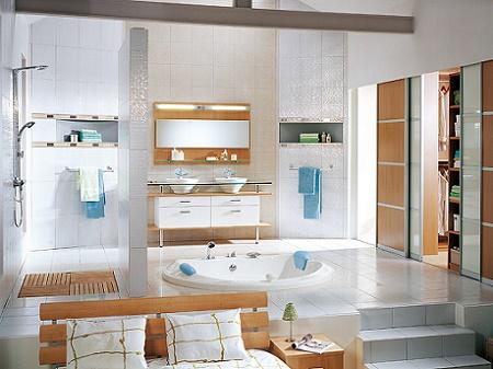 Poze Baie - Interior modern in care dormitorul si baia matrimoniala impart acelasi spatiu