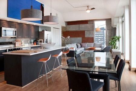 Poze Sufragerie - Zona de zi open space intr-un apartament modern
