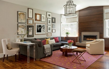 Poze Living - Living modern cu un mic spatiu de lucru