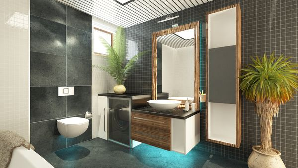 O baie spatioasa amenajata cu stil