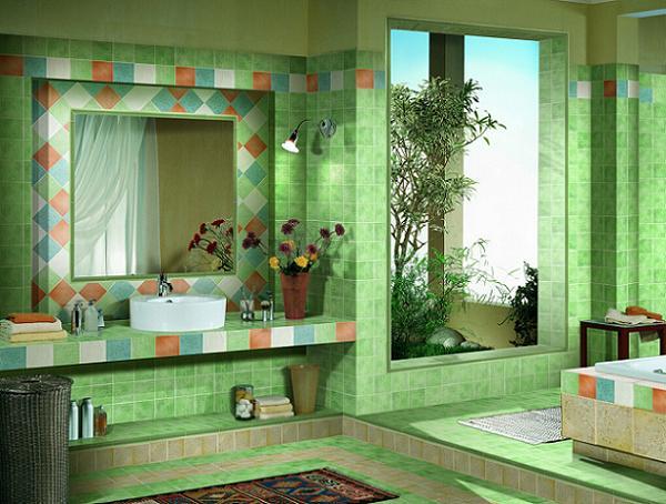Idei pentru o baie amenajata in nuante de verde. 11 modele de bai verzi, deosebite