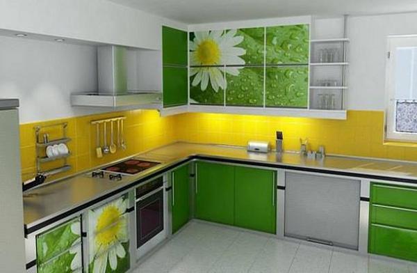 Bucatarie in culorile verde, galben, gri