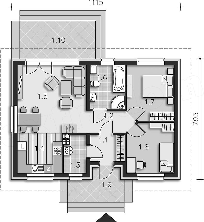 Casa fara etaj de 70 metri patrati cu 2 dormitoare for Proiect casa 2 camere living baie si bucatarie